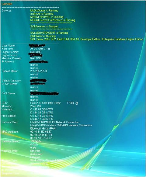 BgInfo, WMI, SQL-Services